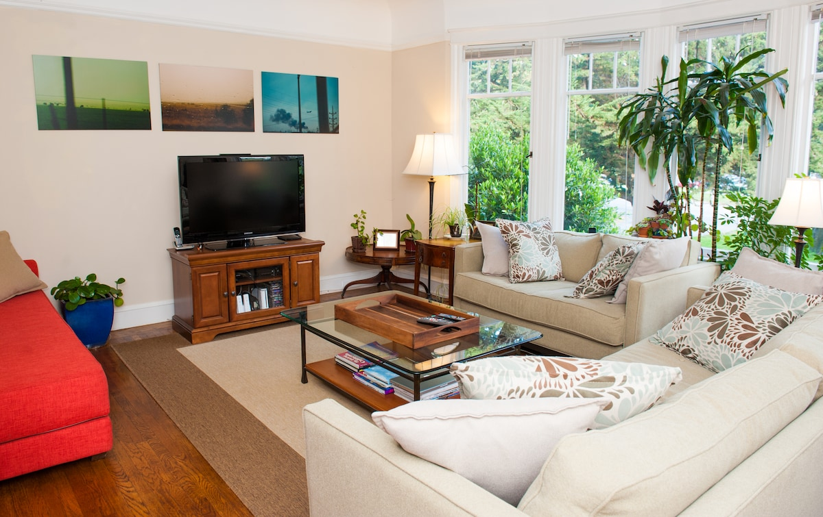 Large living room with plenty of seating options, tv, and view of the park.
