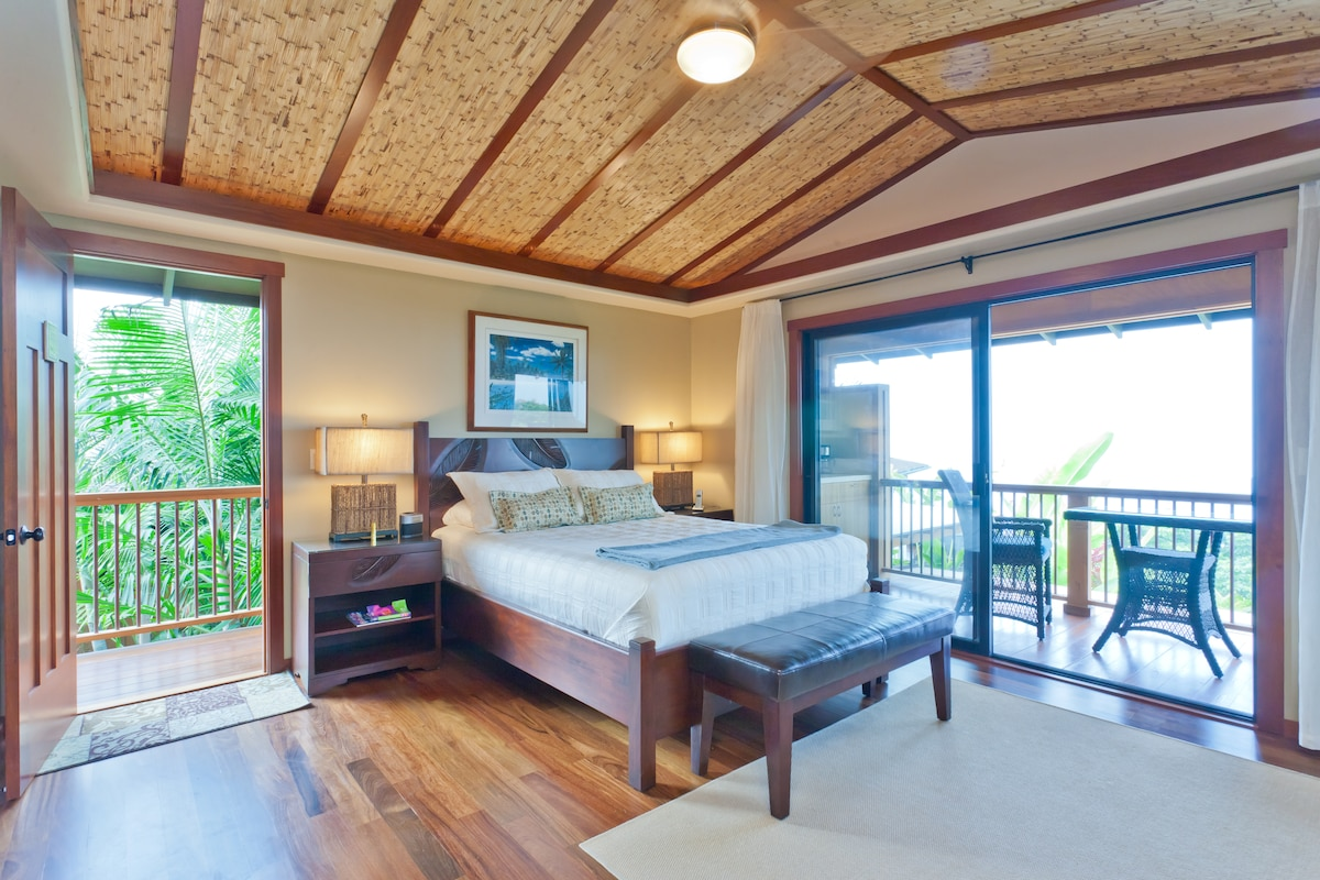 The Kokua Nest Private cottage boasts a Queen Bed Master Suite and second story Ocean View Lanai!
