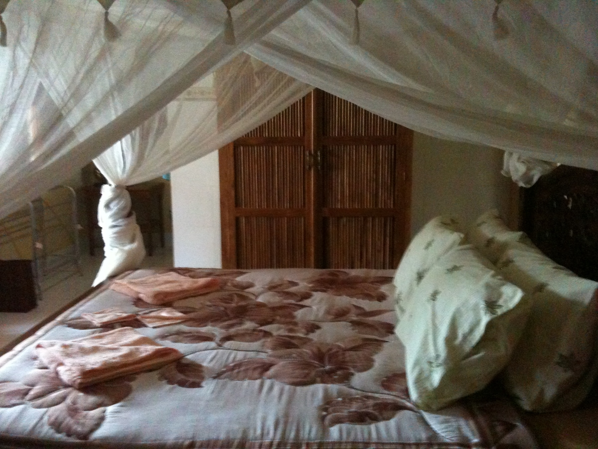 Comfy Bed KIng Size with Net and Fresh Linens.