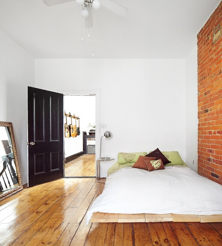 Clean and bright, the large bedroom is aproximately 14 x10 feet and has a platform queen size bed.