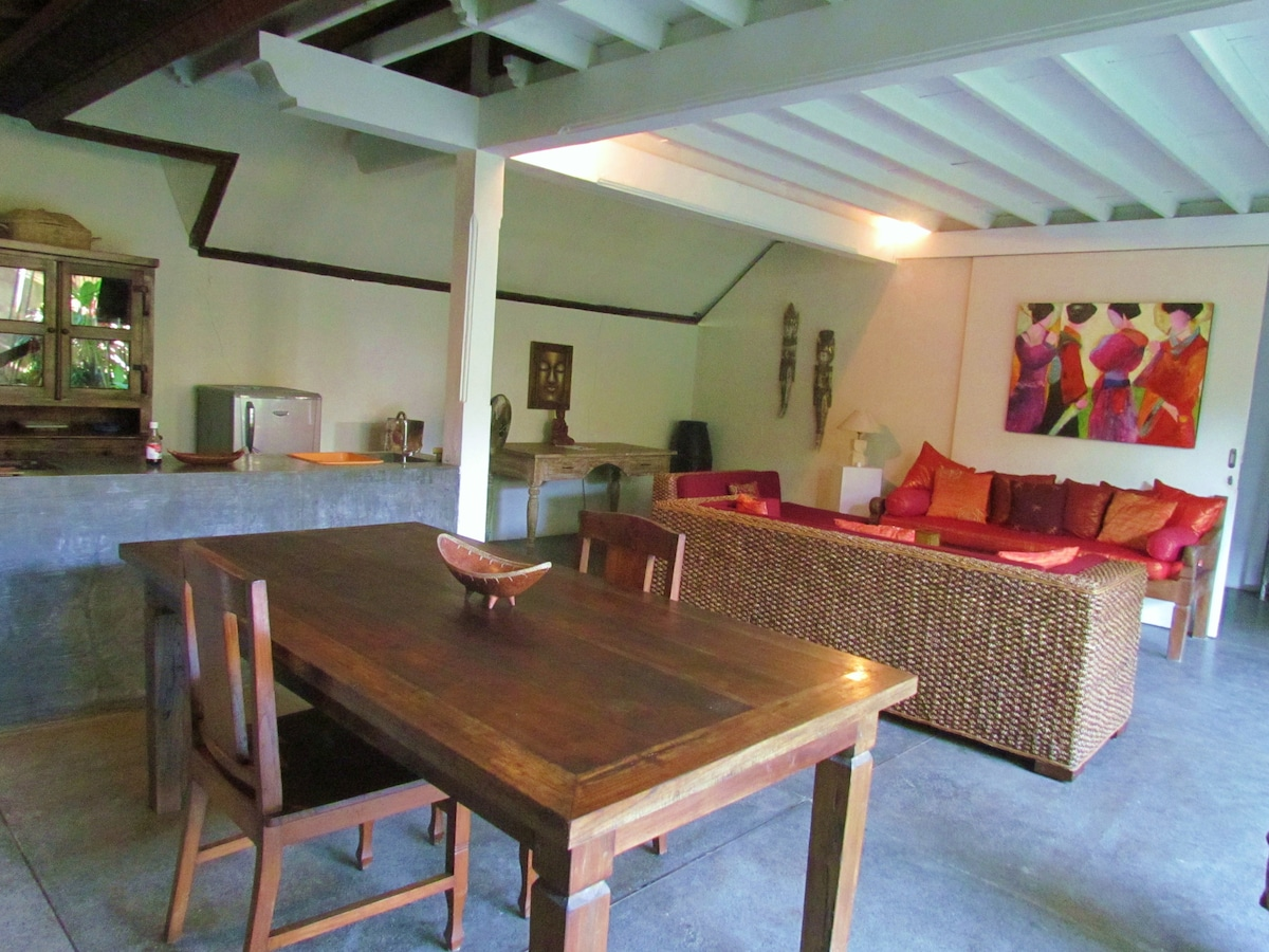 dining table , kitchen and livng room