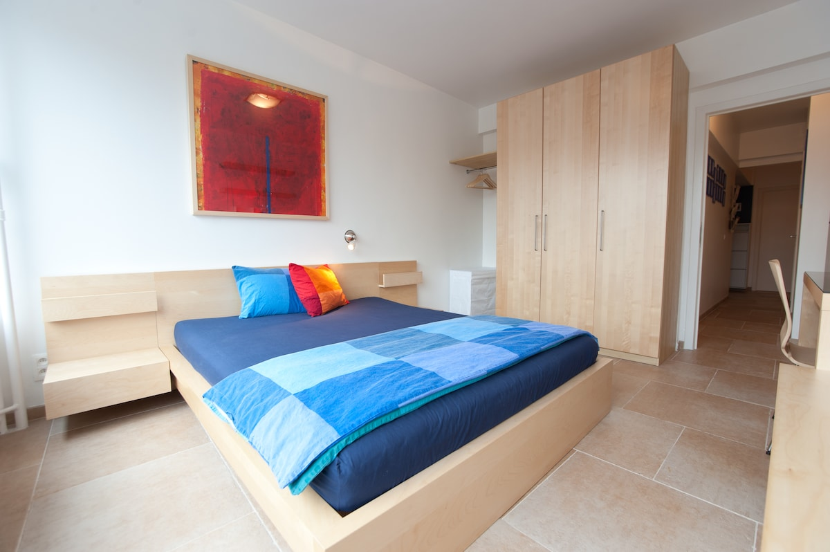 Comfy double bed and large wardrobe