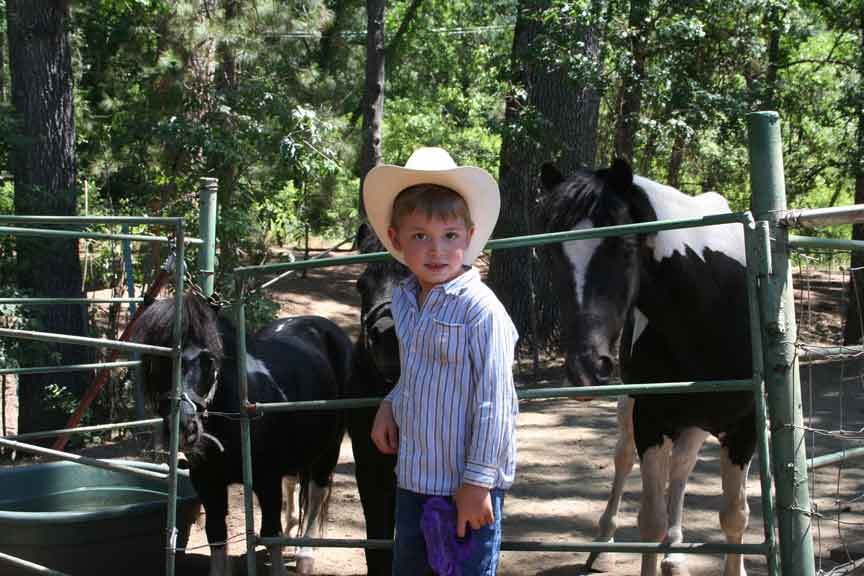 Buckaroos enjoy visiting our ponies, goats and chickens.