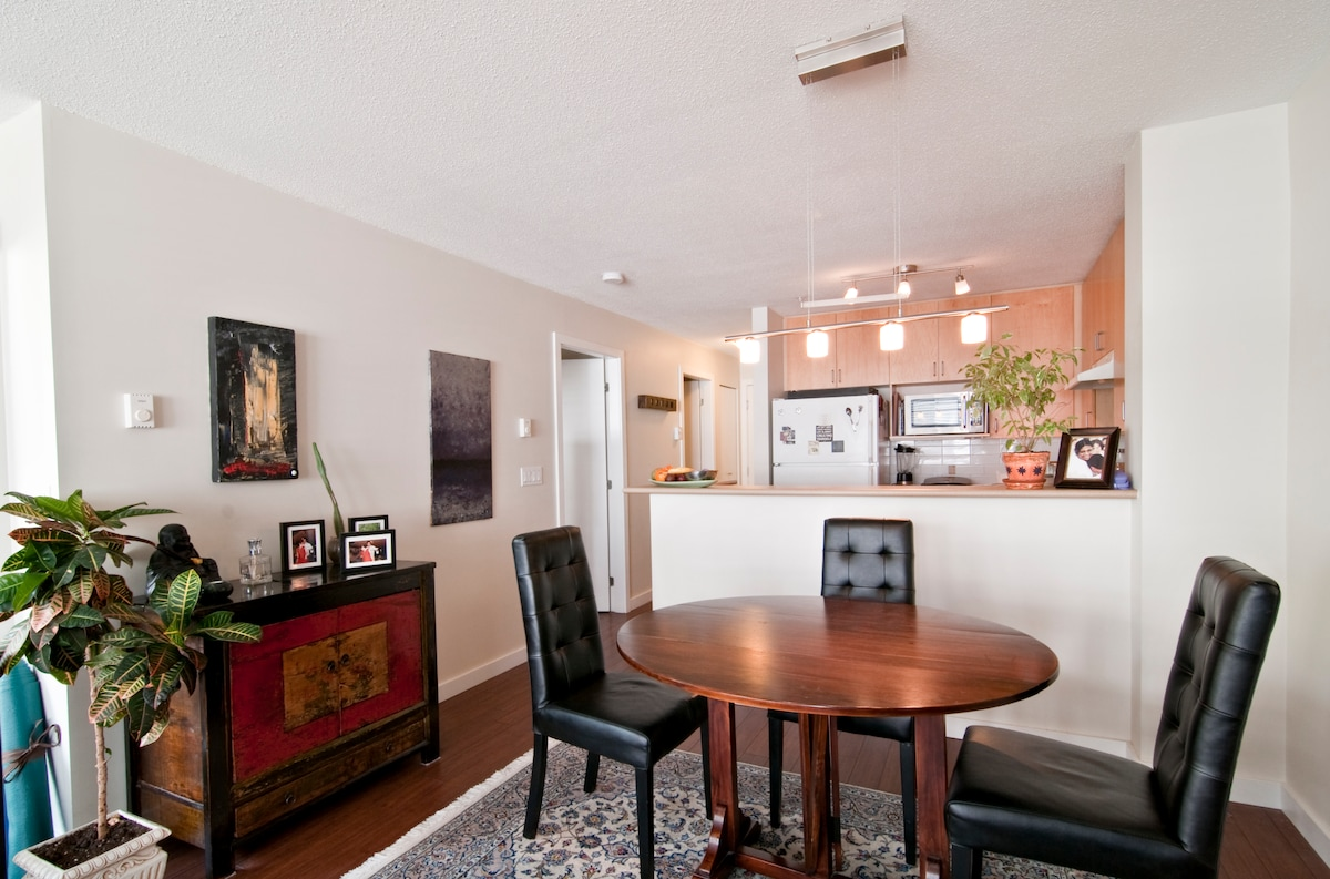 We have placed dimmers throughout the condo to create the perfect space.