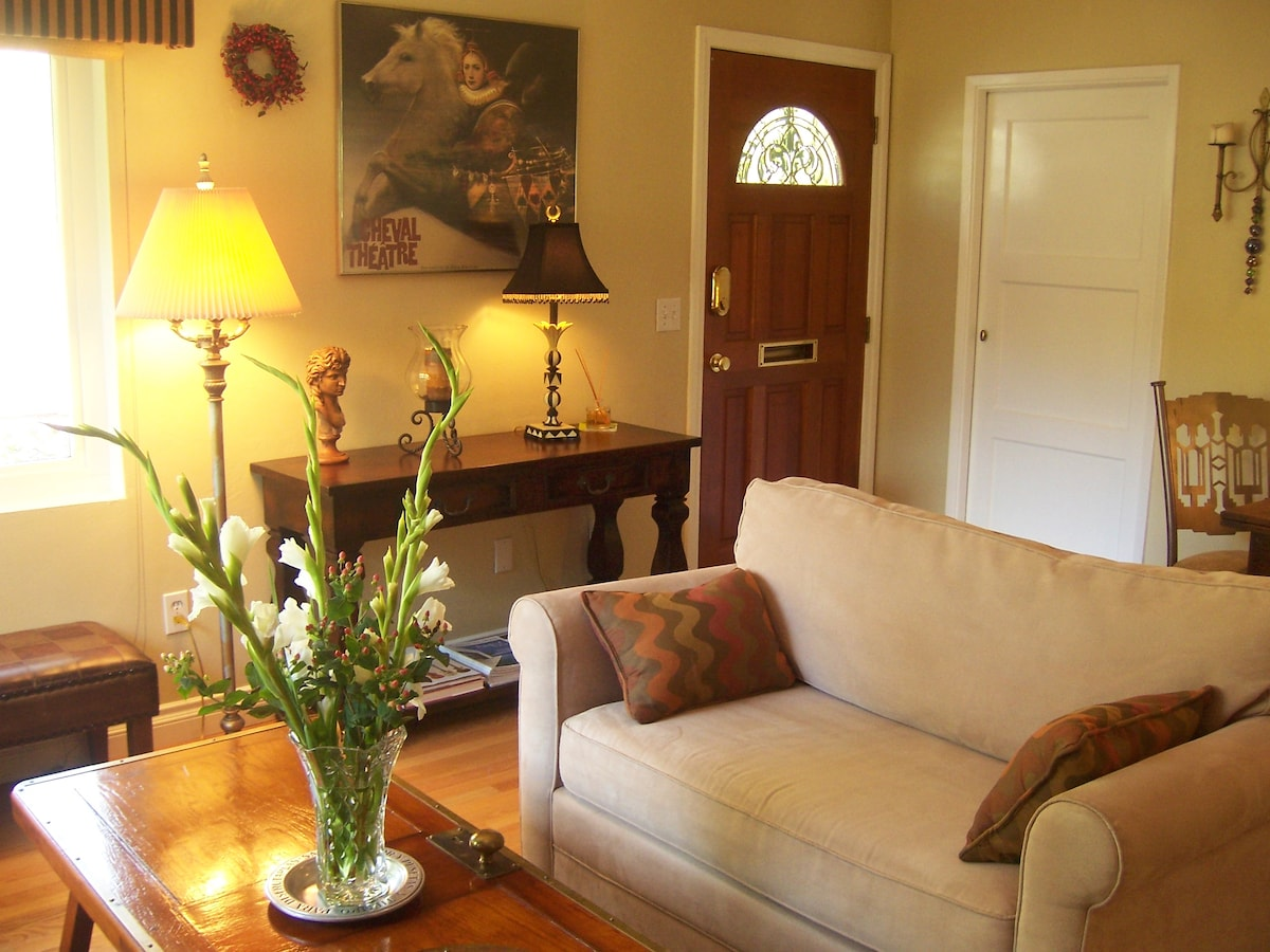 Classic and artfully decorated, a view to the front door.