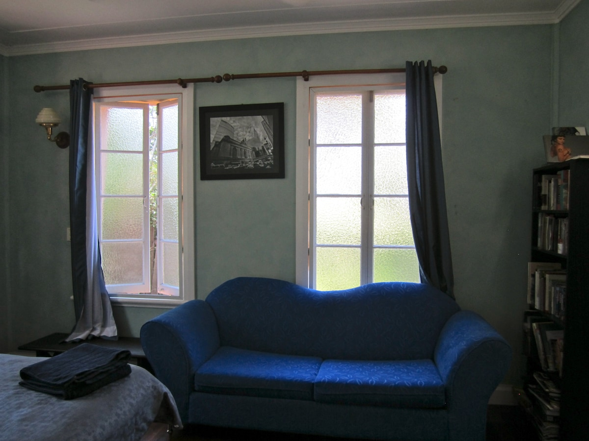 Plush couch which folds out to double bed in Ulysses Blue Room