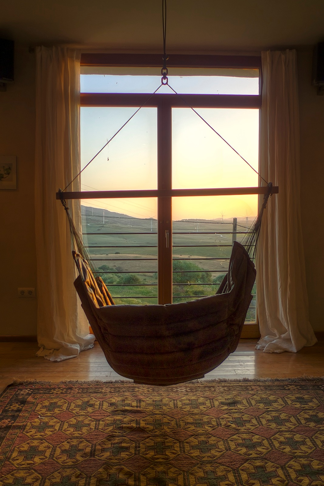 Hammock chair and sunset view