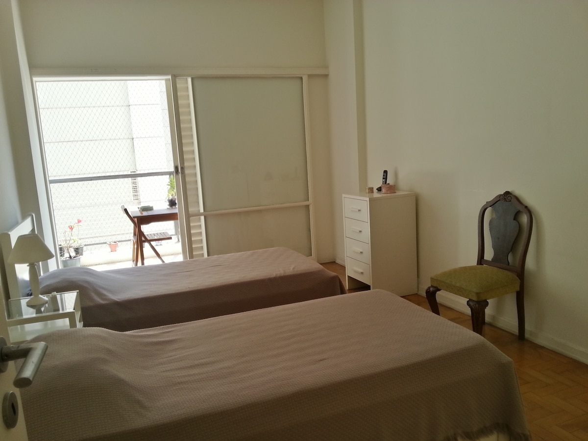Bedroom 1: Two comfortable single beds, one of them being a pull-out bed.. The room has enough space for three people!