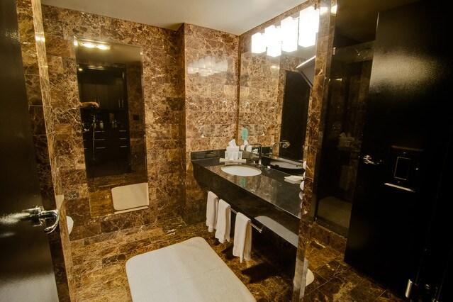 Gorgeous marble bathroom.