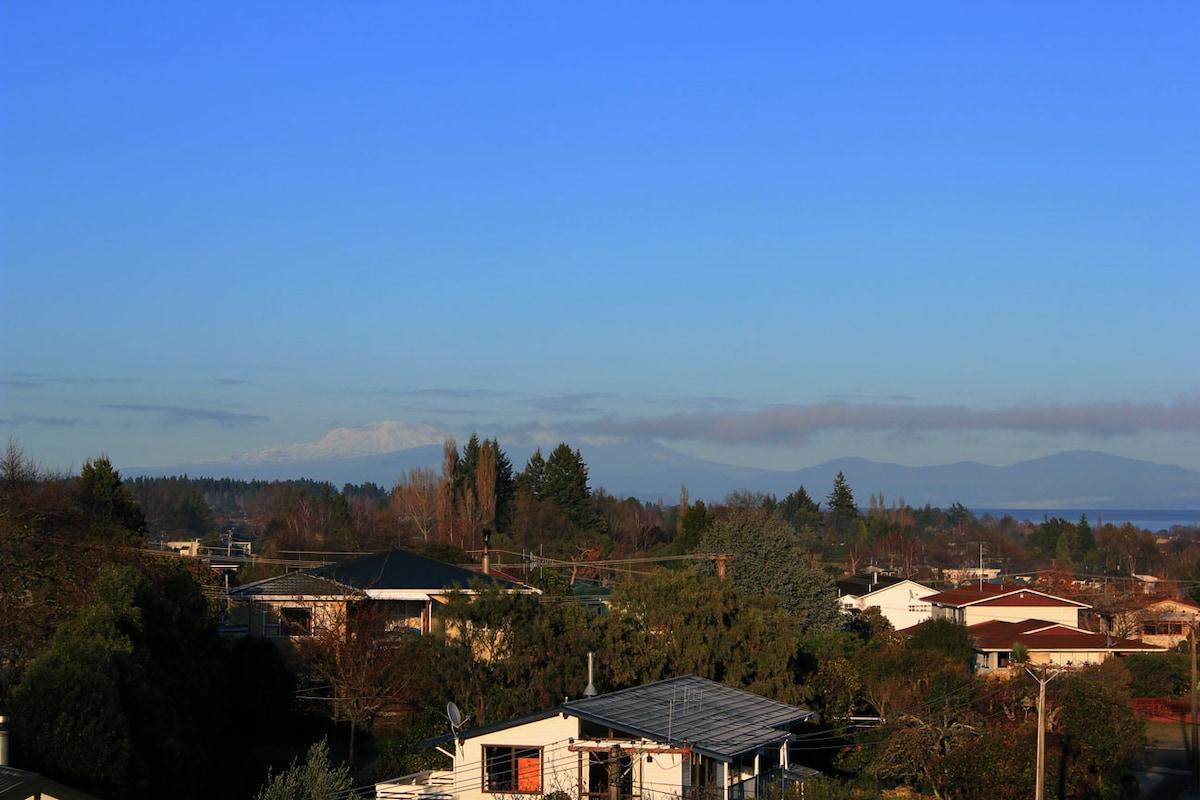 View towards mountains: Ruapehu, Ngauruohe and Tongariro