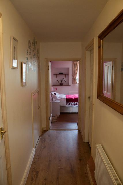 Downstairs hall leading to double bedroom