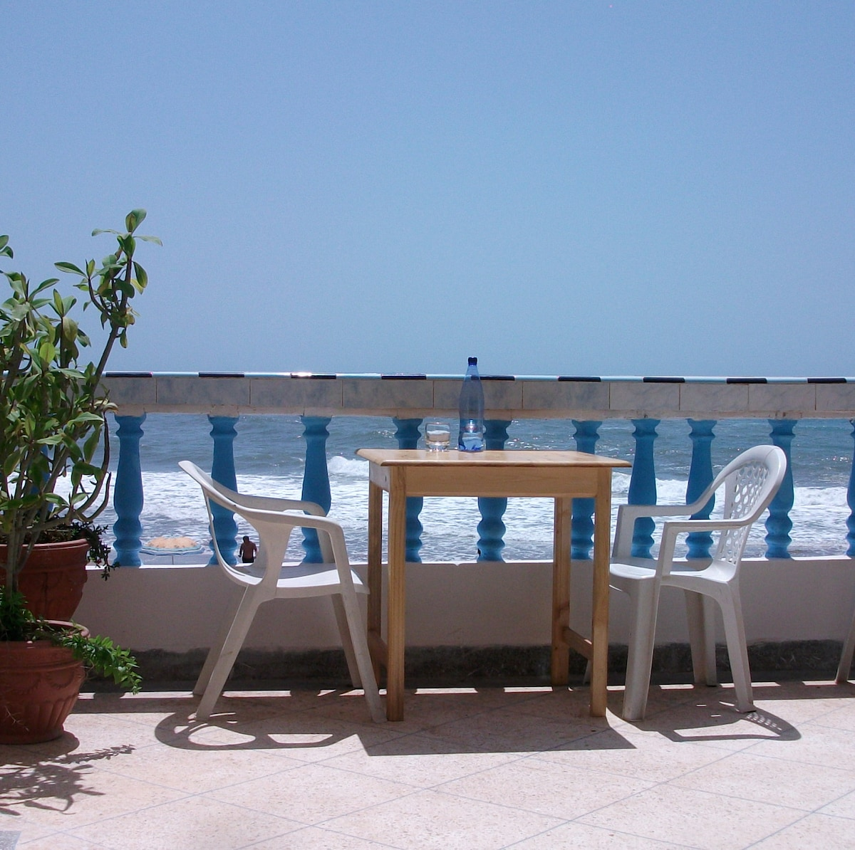 one of the many terraces at Aftas beach guest house