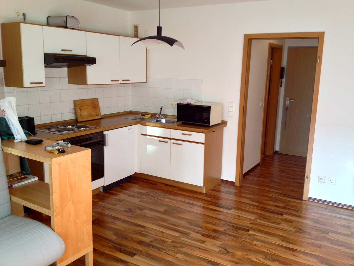 Küche - Kitchen with electric stove, refrigerator with freezer, microwave, plates, dishes and glasses