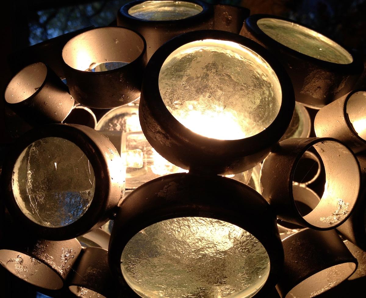 Reclaimed glass dining light