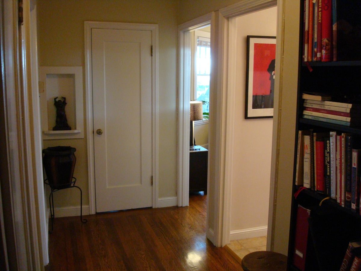 Another view of hallway with bedroom to the left and a giant walk in closet straight ahead.