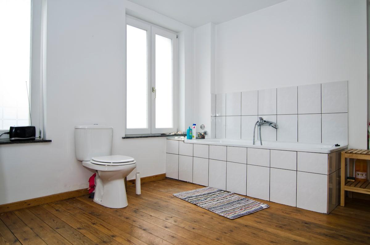 bathtub and shower in a spacious 20m² bathroom