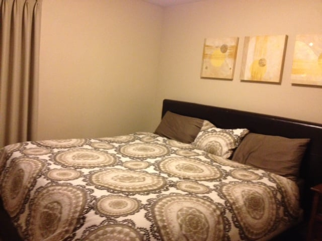 King bed/bedroom where you will sleep