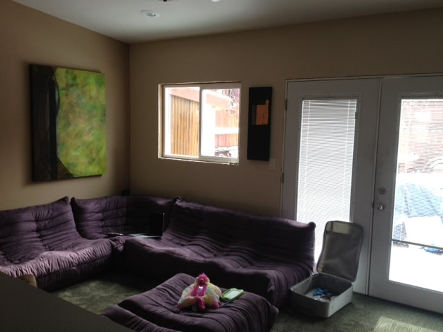"""Back living room - hot tub beyond in back yard - 50"""" flat screen tv in this room"""