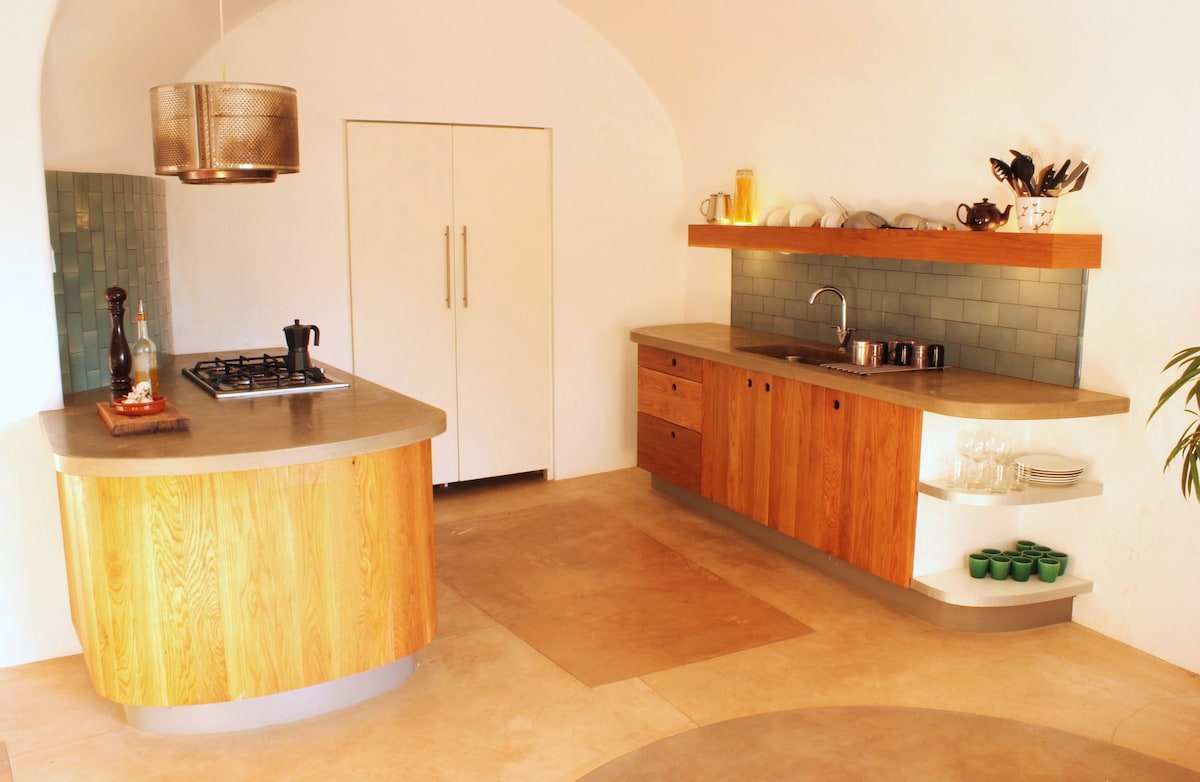 Kitchen and pantry with traditional drying rack and sink.  All utensils and crockery supplied.