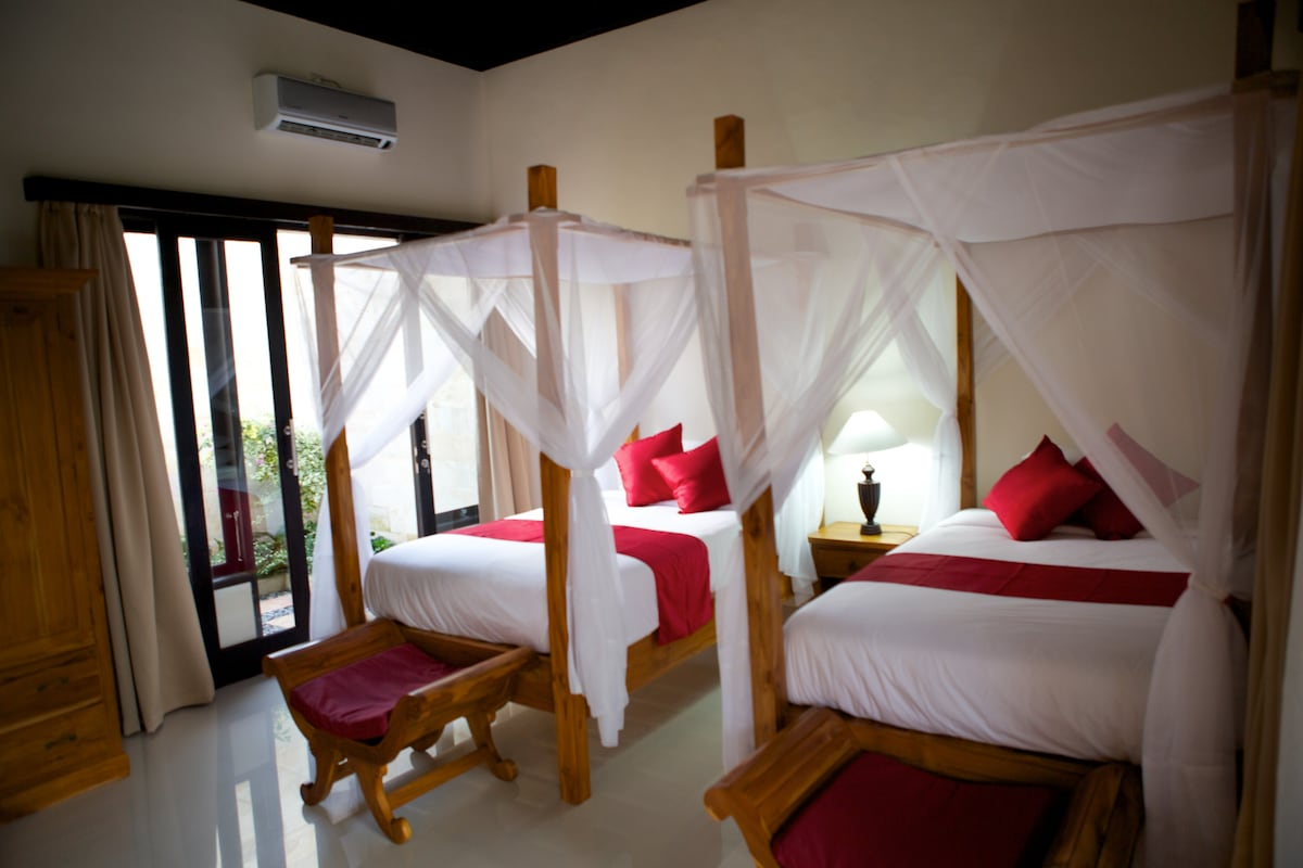 The twins bed with mosquito net and comfortable Mattrass.