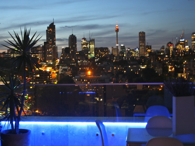 Nighttime views from the penthouse are sensational - the spectacular city of Sydney.