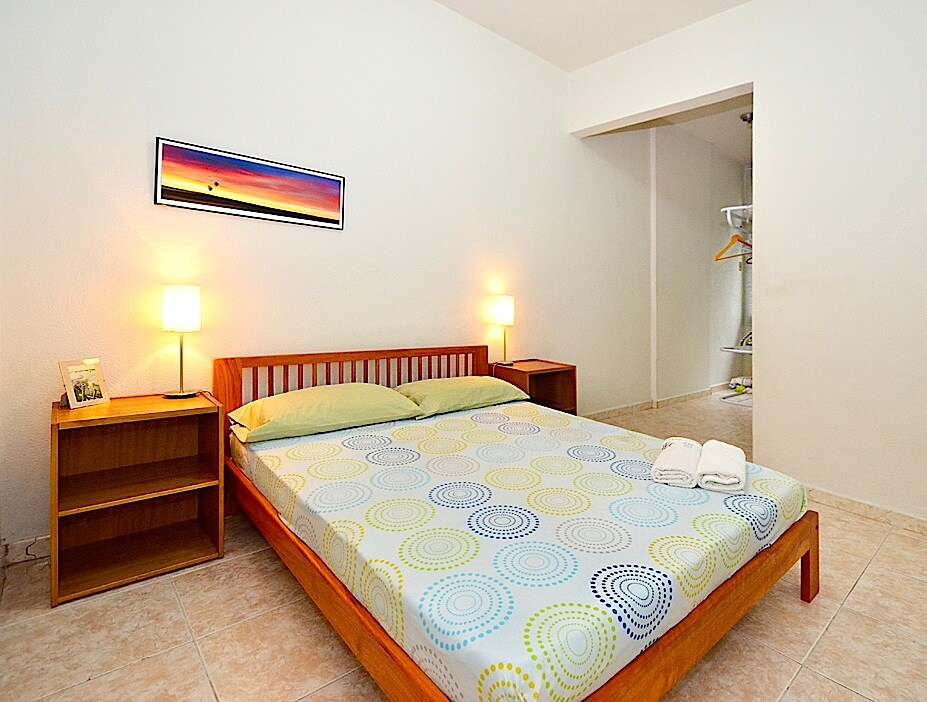 The 1st bedroom with a double bed -
