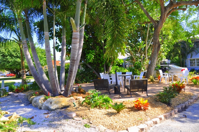 Private tropical garden area with bbq