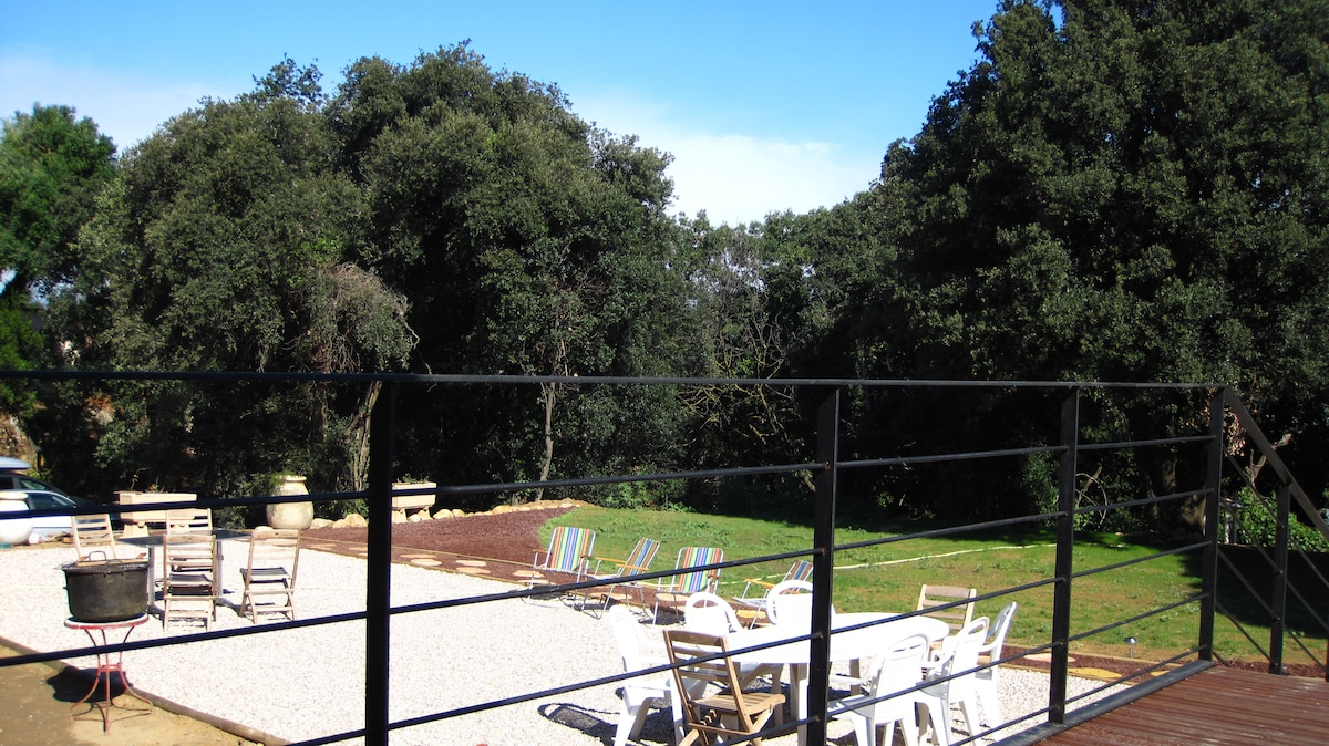 view of the garden from Entrance of Corbieres