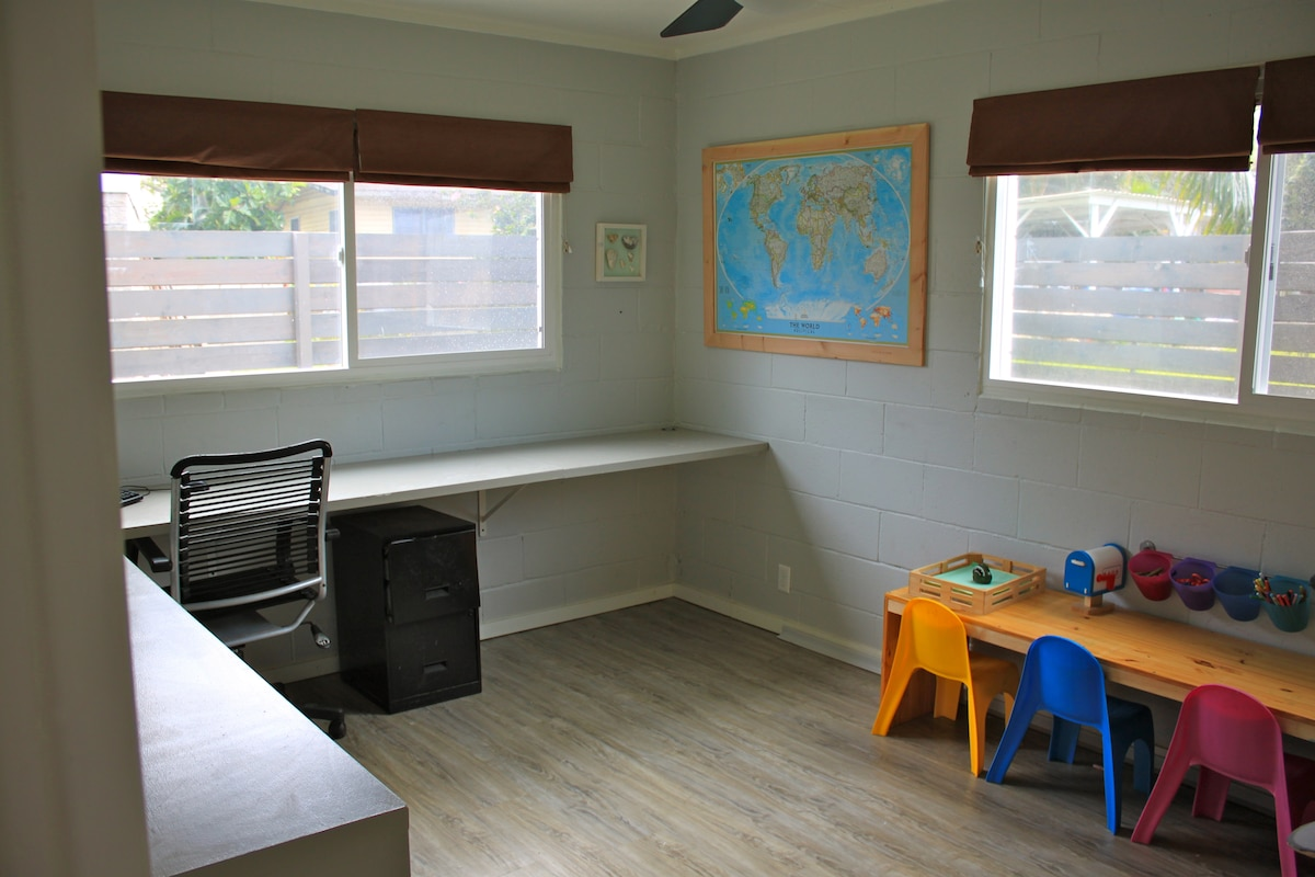 office. Kids desk can be relocated and replaced with a queen size air bed