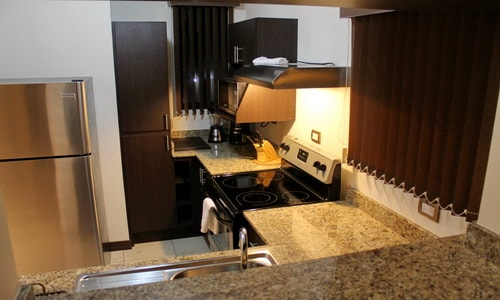 Kitchen is equipped with blender, stainless steel fridge, ceramic top stove and granite top counters.