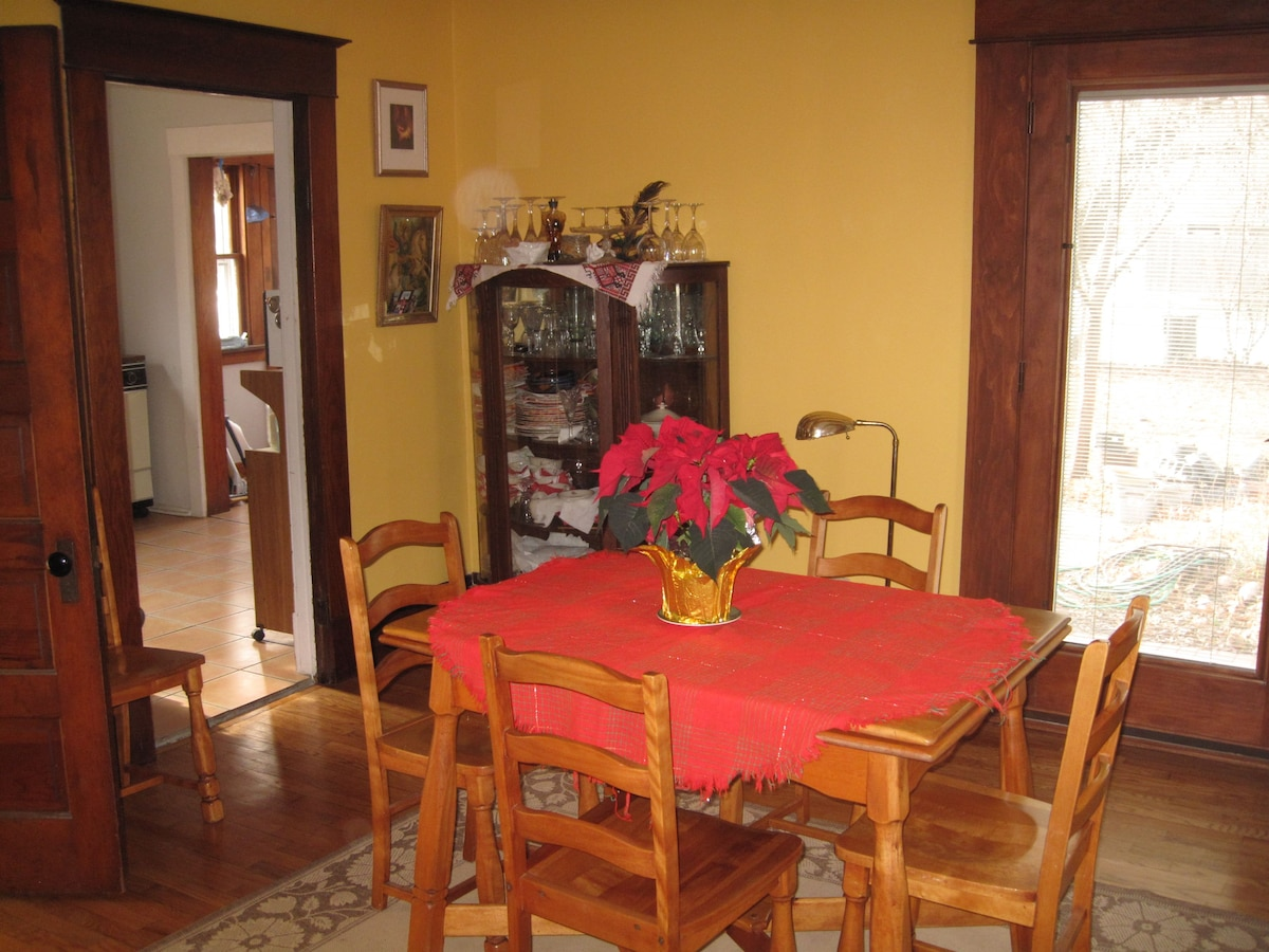 Old dining  area looking toward the old (pre- renovation) kitchen.  Winter view