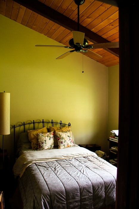2nd guest bedroom with beautiful vaulted ceilings and wooden floors over looking gardens