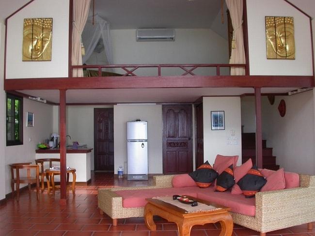 open plan inside jasmine villa [kitchenette to the left] lofted bedroom above