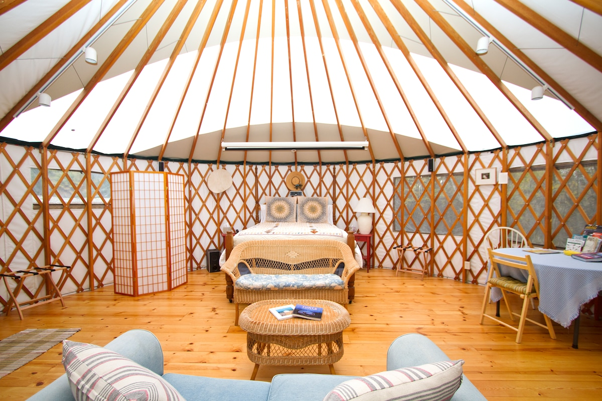 View of the yurt as you walk through the door.