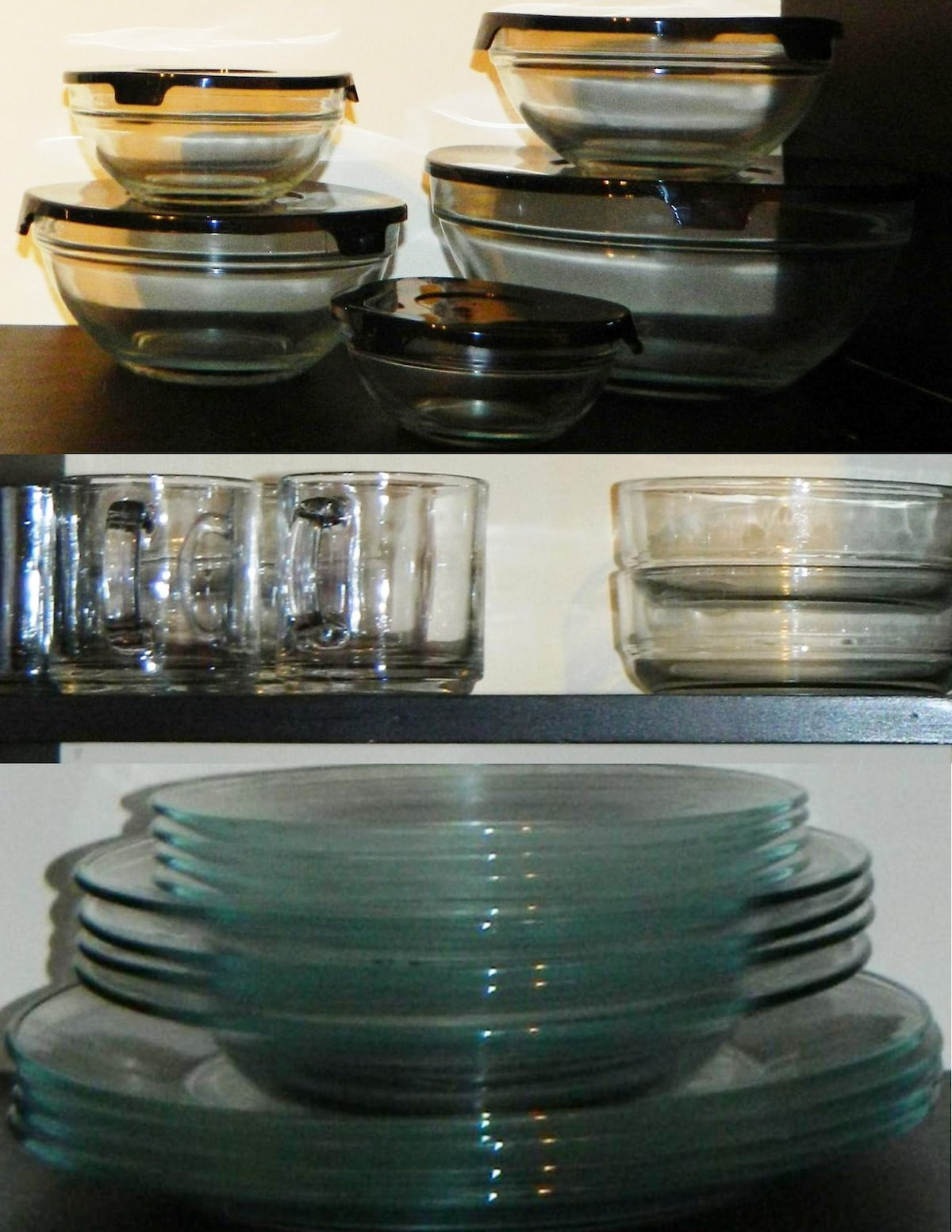Complete set of plates, bowl, glasses