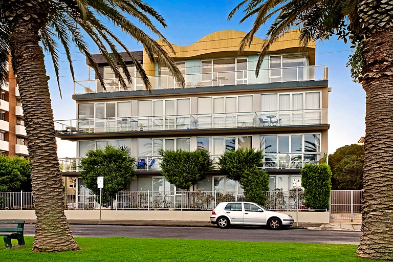 Apartement is top floor on right with 12 metre balcony frontage looking over St Kilda forshore and lower esplanade.