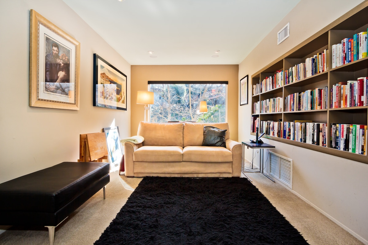 Relax in the media-room/library.