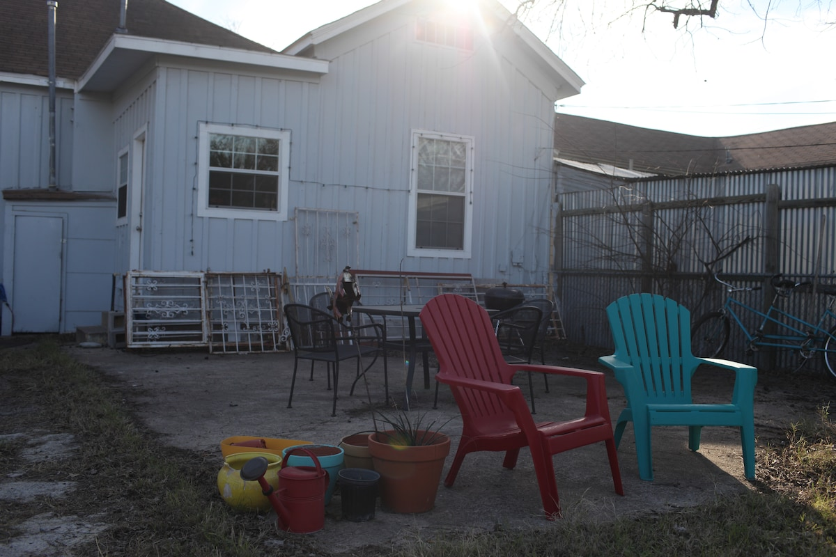 back patio - charcoal grill and tandem bicycle included!