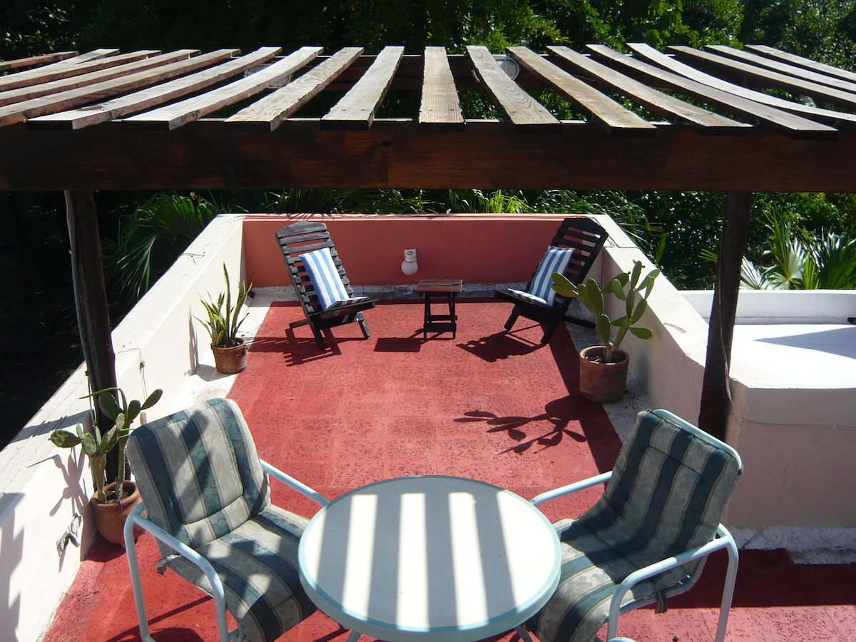 Relaxing Roof Top Terrace with View of the Tropical Park