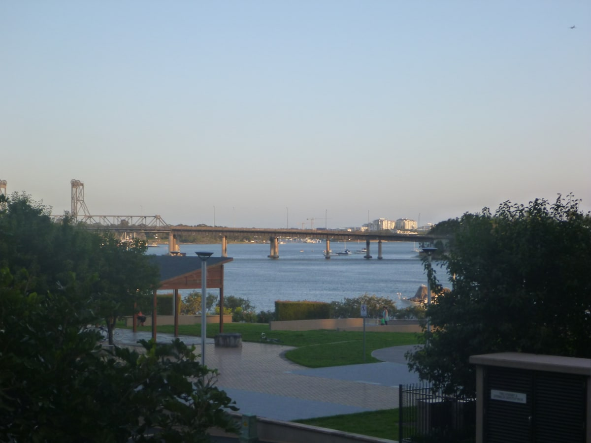 Parramatta River, with the ferry terminal tucked behind the bushes to the right