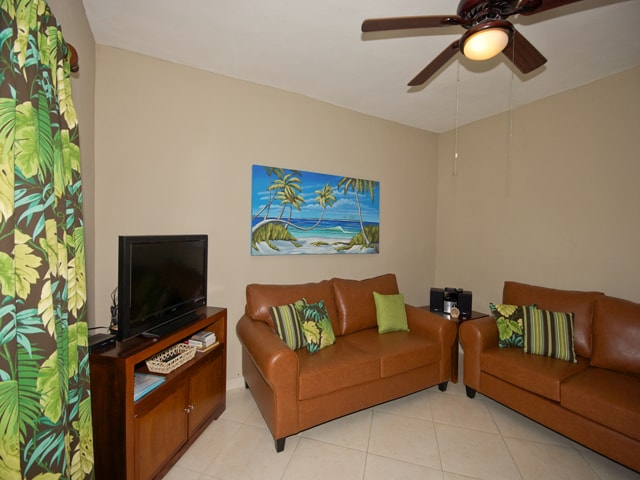 Comfortable living area for watching TV or reading a book.