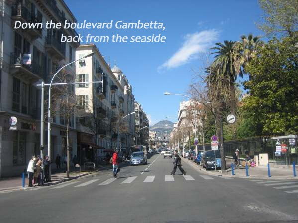 Down to the boulevard Gambetta, back from the sea side...