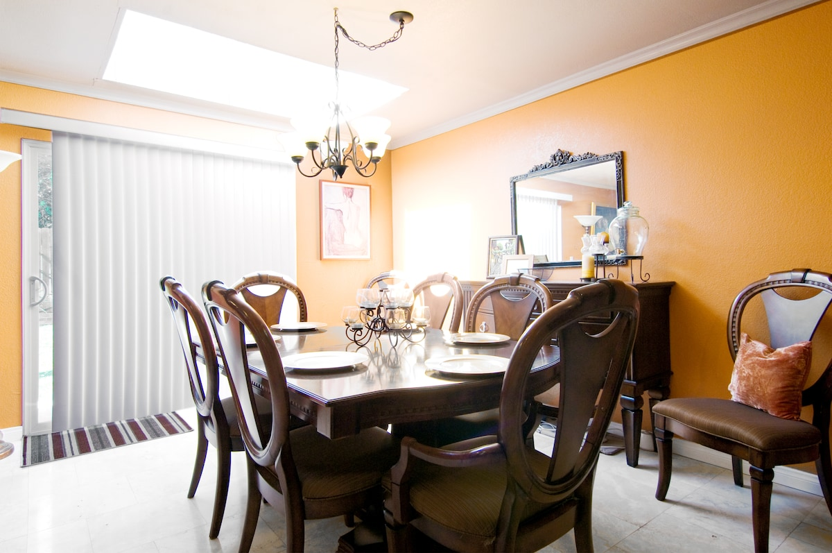 Guests have use of the dining room with skylight. There is also bar seating in the guests living room.