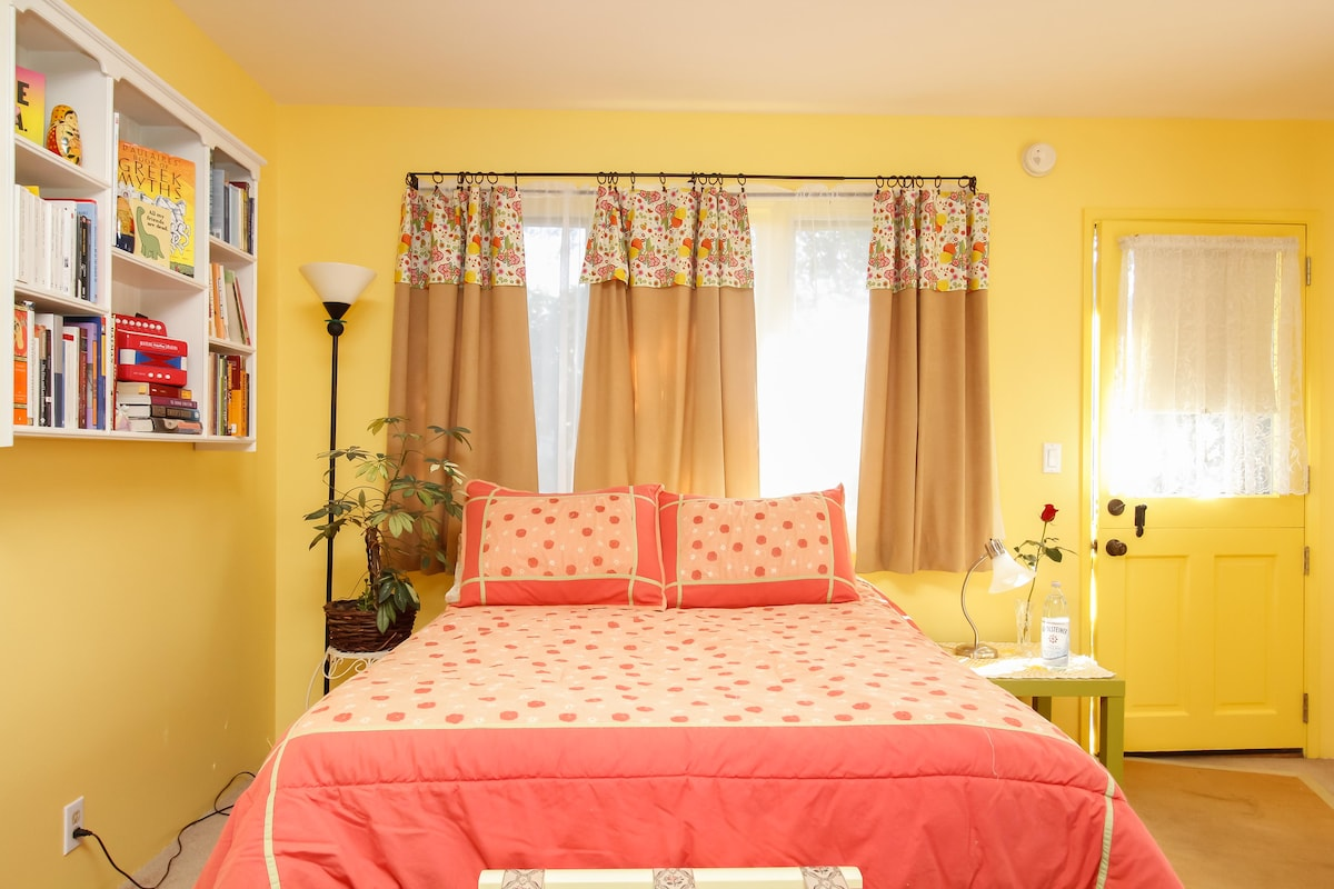 Bright and cheery. NEW Queen bed replaced this double!
