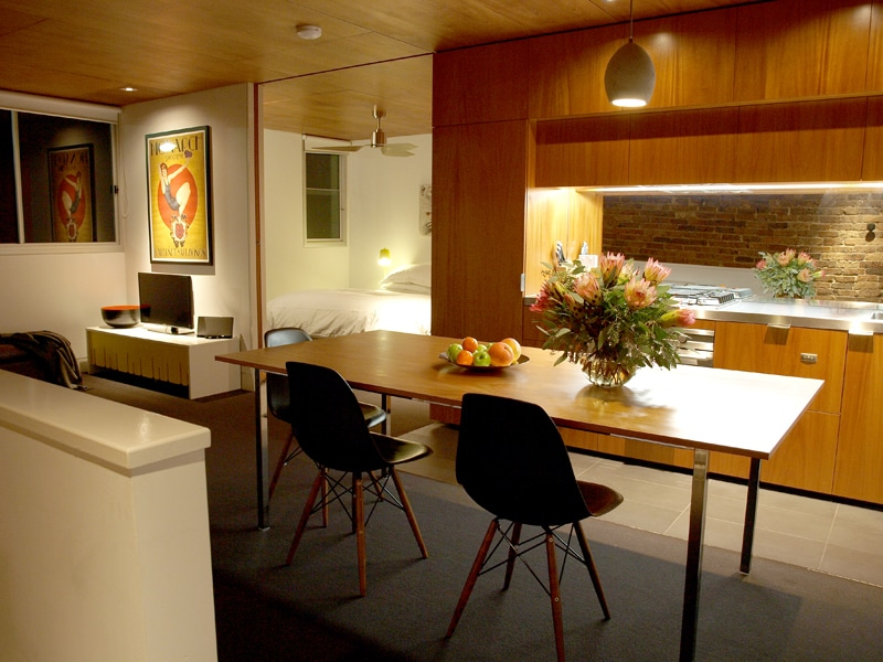 The kitchen looking towards the bedroom