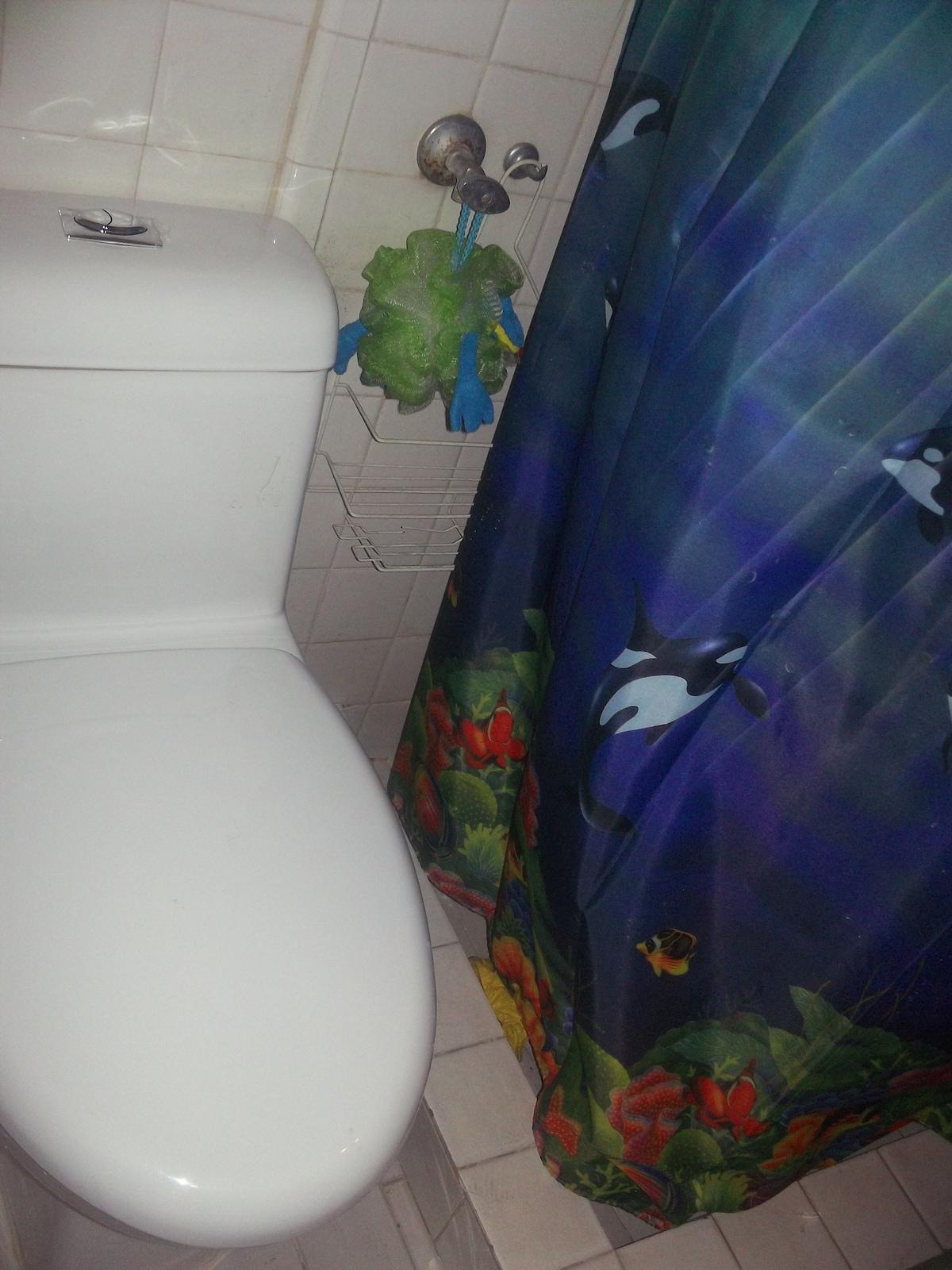 El baño es pequeño pero comodo.