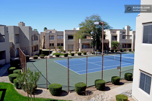 Floodlit tennis courts