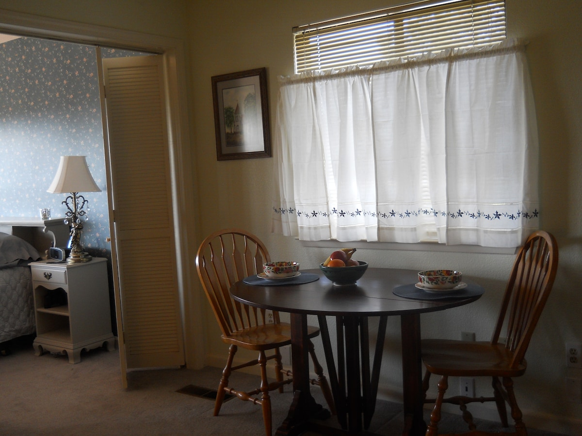 Your private dining area has a refrigerator, microwave, coffee maker, electric tea kettle, toaster and filtered water.