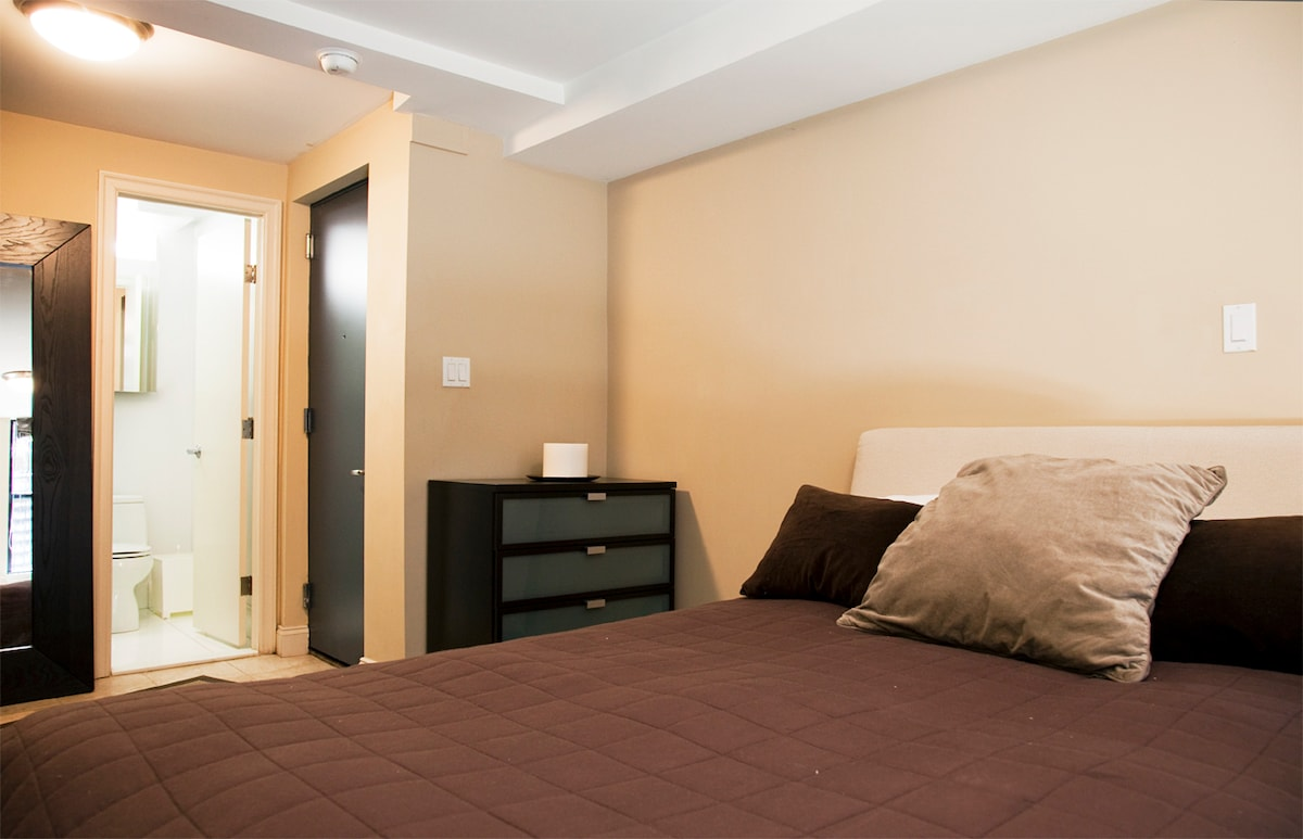 The closed door is your private entrance to the apartment.