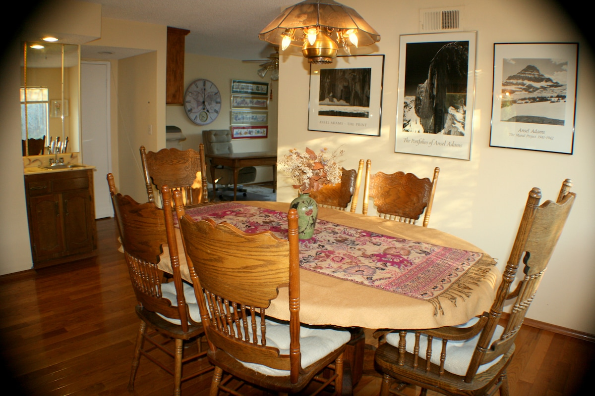 Dining room sits up to 6. Extra chairs available.